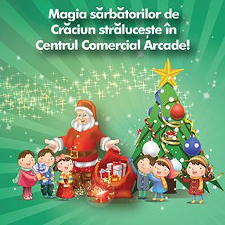 Mosul va fi prezent in Centrul Comercial Arcade, in weekend-urile 13-14 decembrie si  20-21 decembrie, pentru a-i bucura pe micuti. In perioada sarbatorilor de iarna, copiii sunt asteptati la atelierul lui Mos Craciun, unde acestia isi vor putea scrie dorintele in scrisori magice. Intra in spiritul Craciunului!